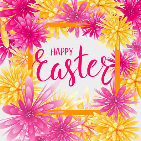 Happy Easter greeting card with abstract flowers and watercolor imitation background in  square shaped, Handwritten modern calligraphy text.