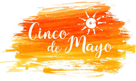 Cinco de Mayo holiday abstract grunge brushed background with abstract sun symbol. Multicolored vector illustration, holiday design element.