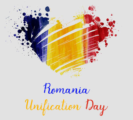 Romania Unification day background with watercolor grunge lines in flag colors in heart shape. Concept for holiday poster, flyer, banner, etc.