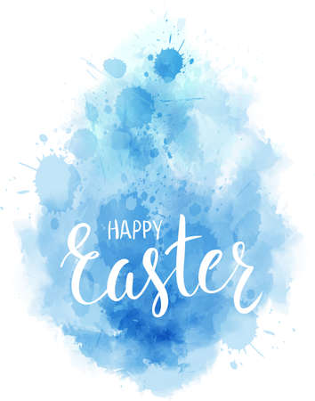 Watercolor imitation Happy Easter background. Shaped in egg form, blue colored with handwritten modern calligraphy text Happy Easter. Illustration