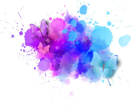 Colorful watercolor splashes with butterflies design element background. Ilustração