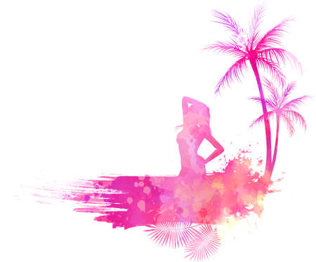 Abstract painted grunge splash shape with silhouettes. Travel concept - partying girl, palm trees. Pink colored vector illustration. Vectores