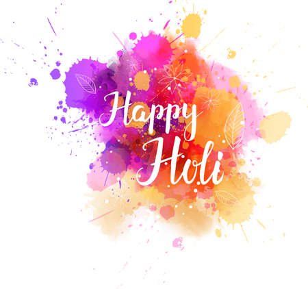 Watercolor imitation multicolored background with Holi festival handwritten modern calligraphy message, Indian spring festival. Illustration