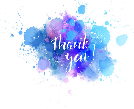 Thank you hand lettering phrase on watercolor imitation color splash. Imagens - 96556407