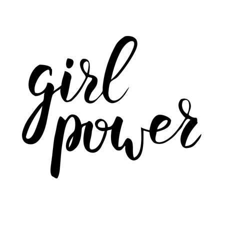 Girl power handwritten phrase Modern calligraphy lettering