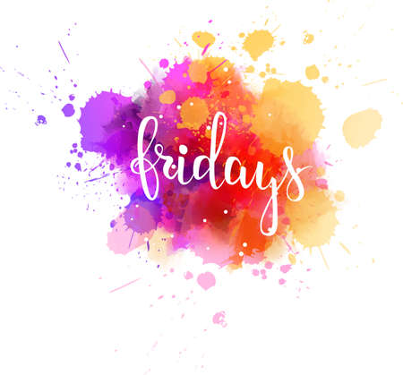Watercolor imitation splash design with Fridays text vector illustration
