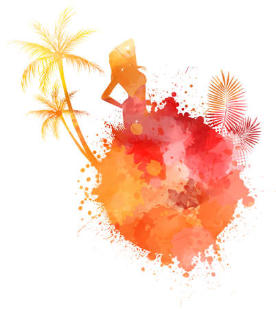 Abstract painted splash shape with silhouettes. Travel concept - partying girl, palm trees. Vector illustration. Vectores