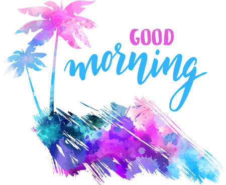 Good morning handwritten modern calligraphy with abstract painted splash shape with palm silhouettes.
