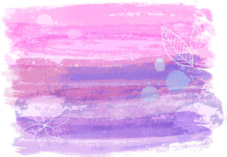 Abstract watercolor paint brushed background in pink and purple color. Vectores