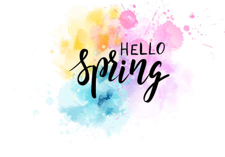 Hello Spring hand lettering phrase on watercolor imitation color splash. Modern calligraphy inspirational quote. Vector illustration. Ilustração