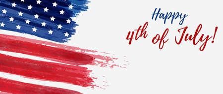 Fondo del día de la independencia de Estados Unidos. Feliz 4 de julio. Vector abstracto grunge cepillado bandera con texto. Ilustración de vector