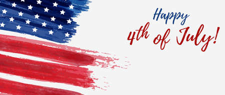 USA Independence day background. Happy 4th of July. Vector abstract grunge brushed flag with text. Vectores