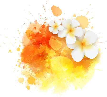 Abstract travel background with plumeria flowers on colorful watercolor splash 版權商用圖片 - 103673500