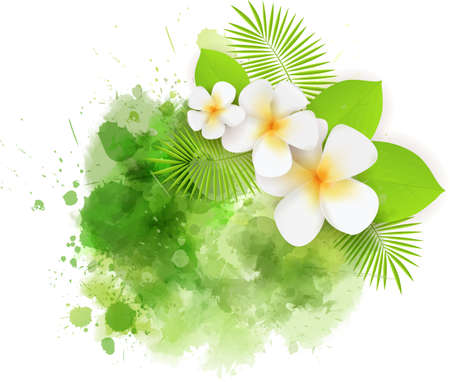 Abstract tropical background with plumeria flowers and palm leaves on colorful watercolor splash. Green colored.