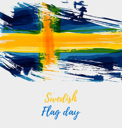 Holiday background with grunge watercolor imitation flag of Sweden. Sweden national day, 6 June. Flag day. Template for poster, banner, flyer, invitation, etc.