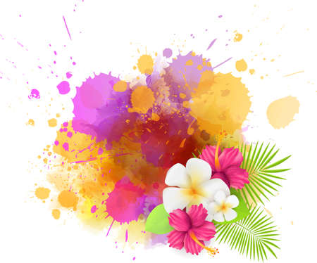 Abstract tropical background with plumeria flowers and palm leaves on colorful watercolor splash. Multicolored.