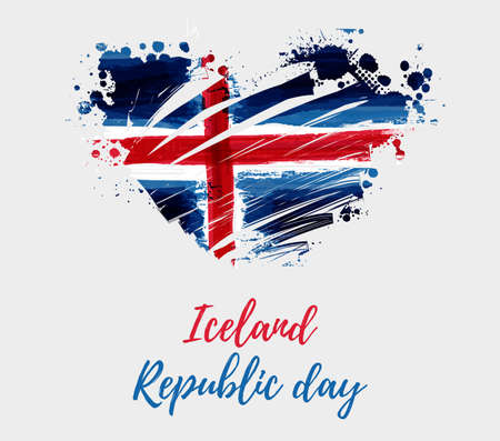 Holiday background with grunge watercolor imitation flag of Iceland in heart shape. Iceland Republic day, 17 June. Vector illustration. Vettoriali