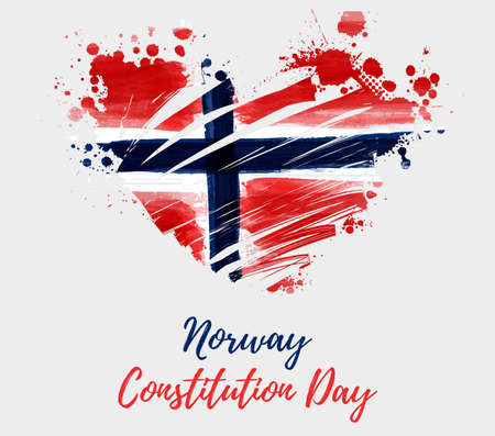 Holiday background with grunge watercolor imitation flag of Norway in grunge heart shape. Norway Constitution day, 17 may. Template for poster, banner, flyer, invitation, etc.
