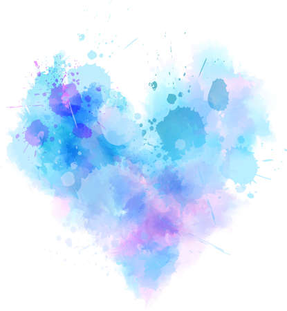 Watercolor imitation abstract grunge heart in blue colors. Template for your lettering, design, etc.