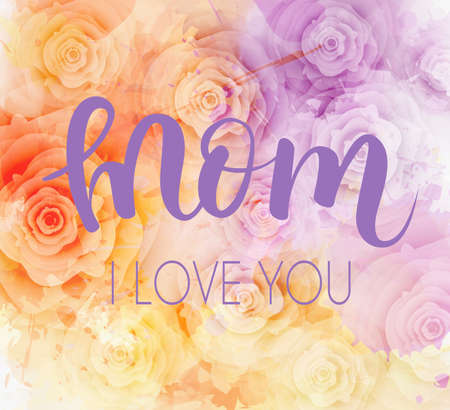 Mother's day greeting card with elegant roses background and