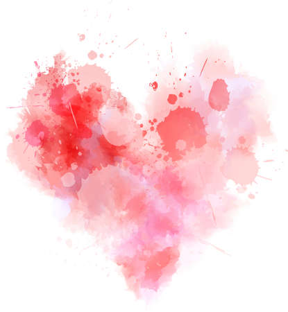 Watercolor imitation abstract grunge heart in red colors. Template for your lettering, design, etc.  イラスト・ベクター素材