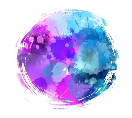 Round brushed abstract water colored background in purple and blue colors vector illustration. Illustration