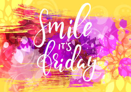Yellow and purple grunge background with abstract swirls and floral decoration. Handwritten modern calligraphy text smile it's Friday