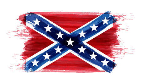 Drapeau abstrait imitation aquarelle brossé abstrait des États confédérés d'Amérique. Illustration vectorielle.
