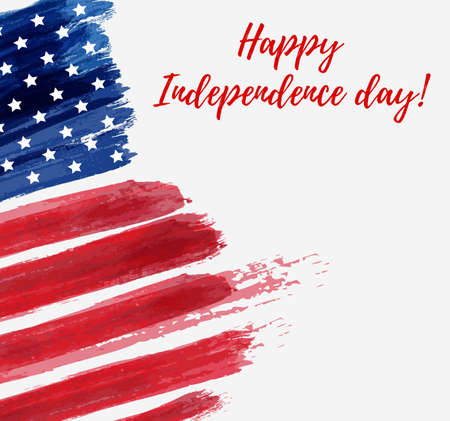 USA Independence day background. Happy 4th of July. Vector abstract grunge flag with text. Template for banner, greeting card, invitation, poster, flyer, etc.