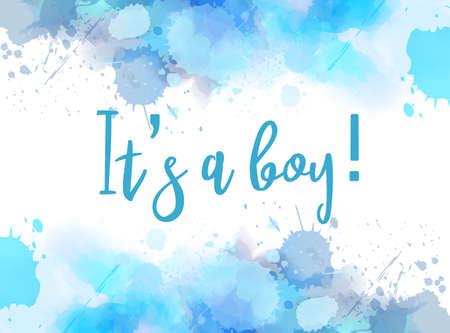 Ilustración de concepto de revelación de género de bebé. Marco de salpicaduras de imitación de acuarela sobre fondo blanco. Es un niño. Color azul bebé.
