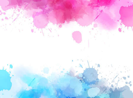 Abstract background banner with watercolor splashes frame. Blue and pink colored. Template painted background for your designs. Vector illustration.