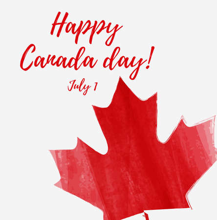 Happy Canada day background with watercolor brushed lines. Grunge Canadian flag. Template for invitation, poster, flyer, banner, etc. Illustration