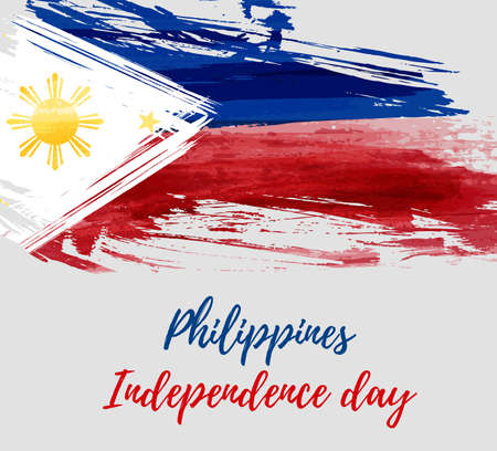 Philippines Independence day holiday background. With watercolor abstract flag. Template for holiday poster, banner, flyer, invitation.