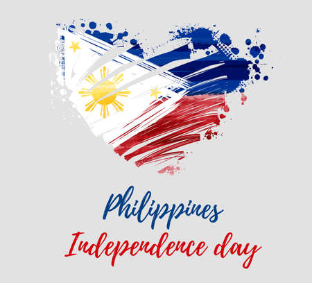 Philippines Independence day holiday background. With watercolor abstract flag in grunge heart shape. Template for holiday poster, banner, flyer, invitation. 矢量图像