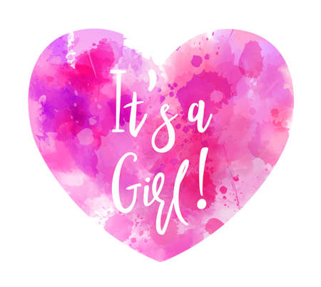 Baby gender reveal concept illustration. Watercolor imitation heart. It's a girl. Pink colored.  イラスト・ベクター素材