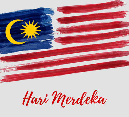 Malaysia Independence day background. With grunge painted  flag of Malaysia. Hari Merdeka holiday. Template for poster, banner, flyer, invitation, etc. Ilustração