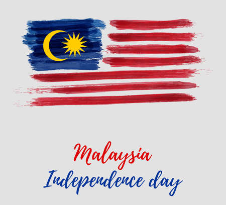 Malaysia Independence day background. With grunge painted  flag of Malaysia. Hari Merdeka holiday. Template for poster, banner, flyer, invitation, etc. Vettoriali