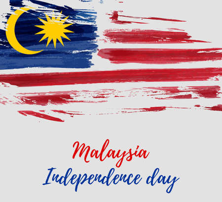 Malaysia Independence day background. With grunge painted  flag of Malaysia. Hari Merdeka holiday. Template for poster, banner, flyer, invitation, etc. Illusztráció