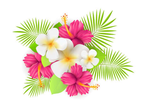 Background with tropical flowers and leaves.