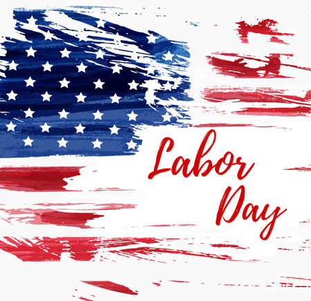 USA Labor day holiday background.  Grunge abstract flag. Template for holiday poster, banner, flyer, etc. 向量圖像