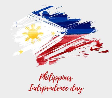 Fondo de vacaciones del día de la independencia de Filipinas con bandera cepillada grunge abstracto.