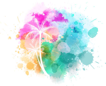 Watercolor imitation splash with palm trees. Bright colored