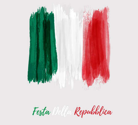Holiday background with grunge watercolor imitation flag of Italy. Festa della Repubblica (Italian Republic Day). Template for poster, banner, flyer, invitation, etc.