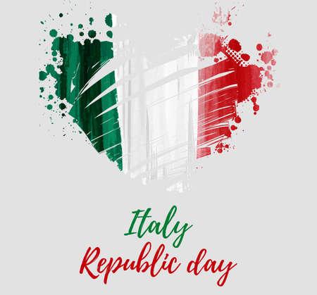 Feiertagshintergrund mit Schmutz-Aquarell-Nachahmungsflagge von Italien in der Schmutzherzform. Festa della Repubblica (Tag der Italienischen Republik). Vorlage für Poster, Banner, Flyer, Einladung usw.