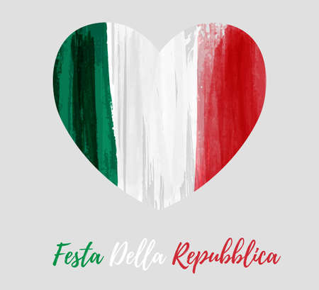 Holiday background with grunge watercolor imitation flag of Italy in  heart shape. Festa della Repubblica (Italian Republic Day). Template for poster, banner, flyer, invitation, etc.