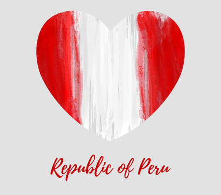 Republic of Peru background. Abstract watercolor grunge flag in heart shape. National day holiday template for poster, banner, invitation, flyer, etc. Patriotic background.