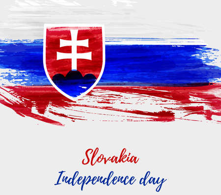 Slovakia Independence day holiday background. Abstract grunge watercolored flag of Slovak Republic. Template for national holiday background, banner, poster, etc.