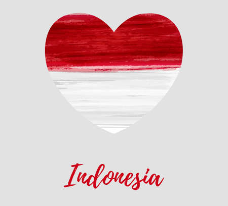 Indonesia Independence day background. Abstract  watercolor grunge flag  in heart shape. Template for national holidays poster, invitation, banner, flyer, etc.