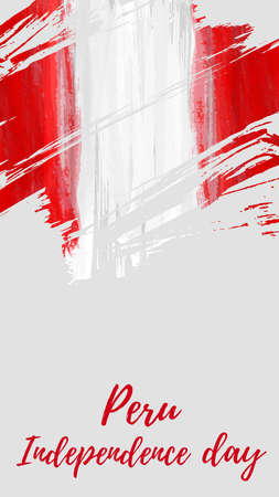 Peru Independence day background. Abstract watercolor grunge flag. National day holiday template for poster, banner, invitation, flyer, etc.