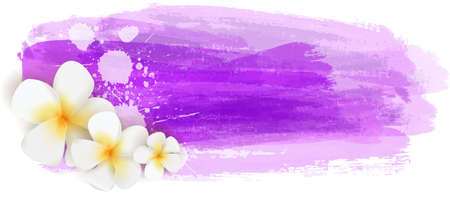 Background with abstract watercolor brushed lines and tropical plumeria flowers. Summer travel concept background.